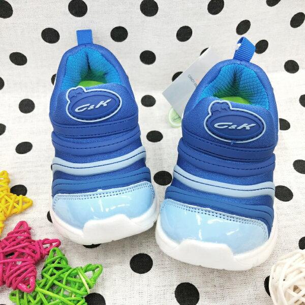 【巷子屋】童款超輕量毛毛蟲鞋懶人運動休閒鞋[506]藍超值價$398