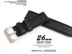 【完全計時】手錶館│Panerai沛納海代用 手工粗線高級加厚 錶帶26mm 全黑 粗線款 直身