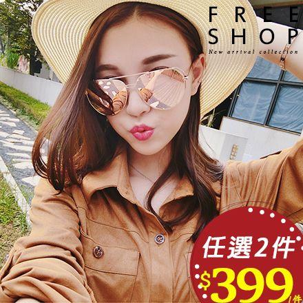 情侶款 Free Shop~QFSSS9128~韓國風格男女中性款鏤空框感彩色鍍膜反光偏光