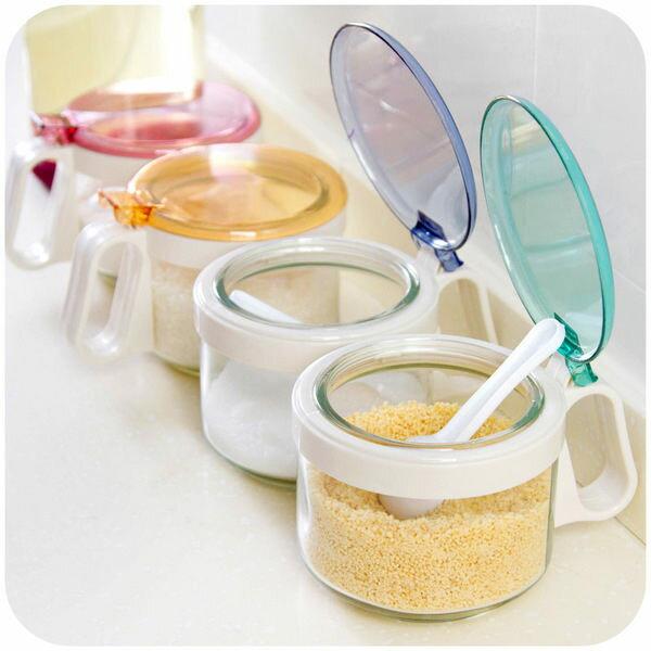 PS Mall 玻璃調味瓶 調味罐套裝鹽巴罐糖罐【J1788】