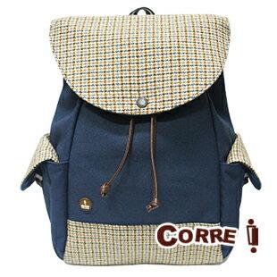 CORRE【CG71071】帆布毛革經典後背包 共四色 紅/藍/橘/咖啡