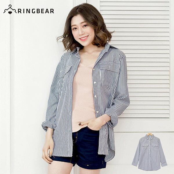 長版襯衫~~復古風慵懶OverSize雙口袋直線條立領襯衫  外套^(藍L~3L^)~I8