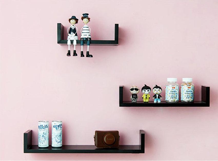 Set of 3 U Shape Floating Wall Shelves Storage Display Shelf Black/White/Red 2
