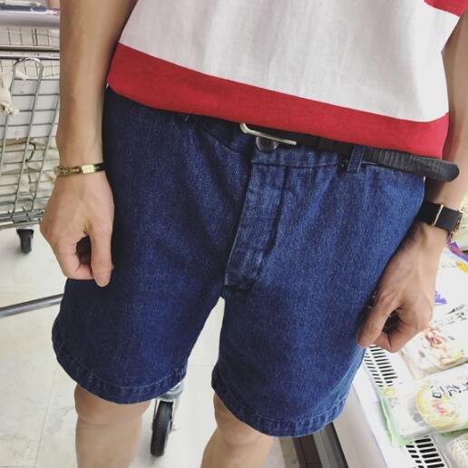 FINDSENSE服飾:FINDSENSEMD日系時尚潮男復古百搭顯瘦深藍色牛仔短褲休閒短褲五分褲沙灘短褲
