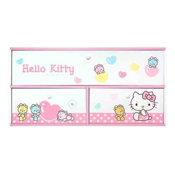 Hello Kitty 小熊橫式3抽收納盒-粉,置物櫃 / 收納櫃 / 收納盒 / 抽屜收納盒 / 木製櫃 / 木製收納櫃 / 收納箱 / 桌上收納盒,X射線【C385600】 0