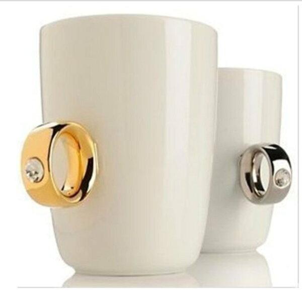 ♚MYCOLOR♚鑽石戒指杯情?杯陶瓷茶杯個性咖啡杯生日禮物送男友女友禮物【G07】