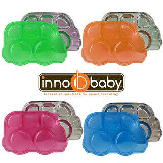 美國 Innobaby 不鏽鋼巴士造型餐盤 附餐盤蓋 3色可選 *夏日微風*