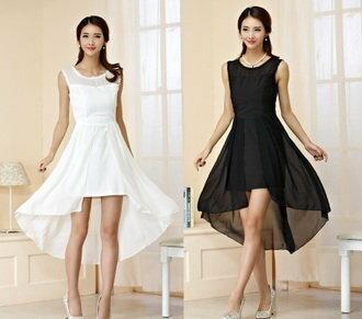 天使嫁衣【J2K9749】黑色清純女孩無袖前短後長洋裝禮服˙現貨