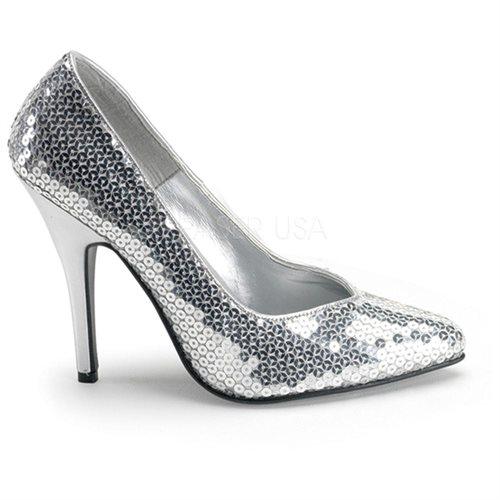 """Silver Sequins Seduce-420sq, 5"""" Classic Pump Shoes - Size 7 0"""