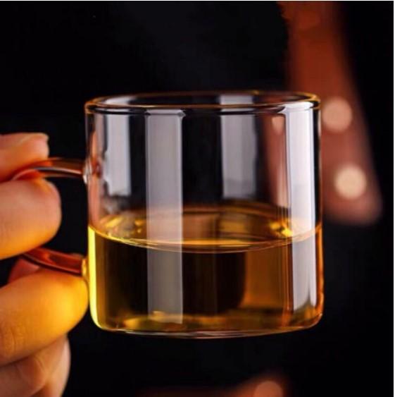 品茶杯 品茗杯 小茶杯 功夫茶杯 玻璃小杯 有把小茶杯 小馬克杯 耐熱玻璃杯 辦公泡茶杯 單人甜點杯 廚房餐具