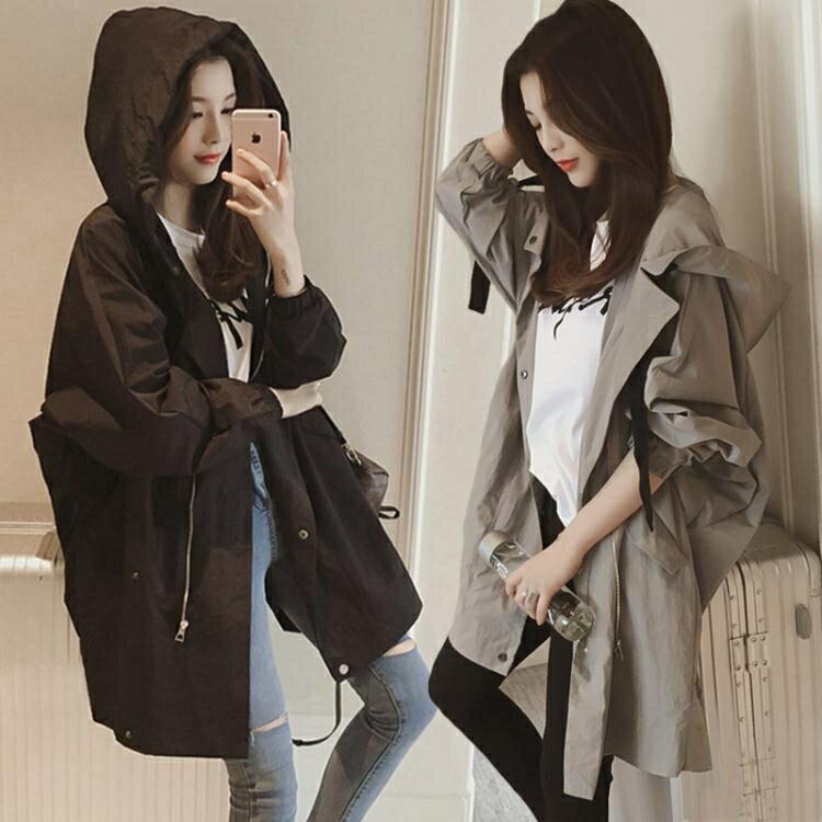 中長款風衣外套女春秋新款韓版bf學生寬鬆大碼百搭休閒棒球服