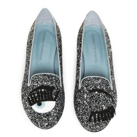 Chiara Ferragni CF812 小牛皮Flirting 眨眼圖案亮片樂福鞋 (鐵灰色)