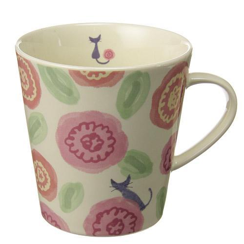 諾亞家族玫瑰貓杯粉色馬克杯490-768