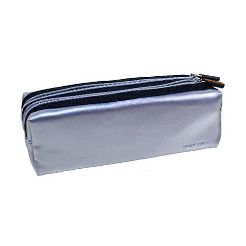 【KOKUYO】 雙頭拉鍊皮革筆袋(銀色) PC007-S