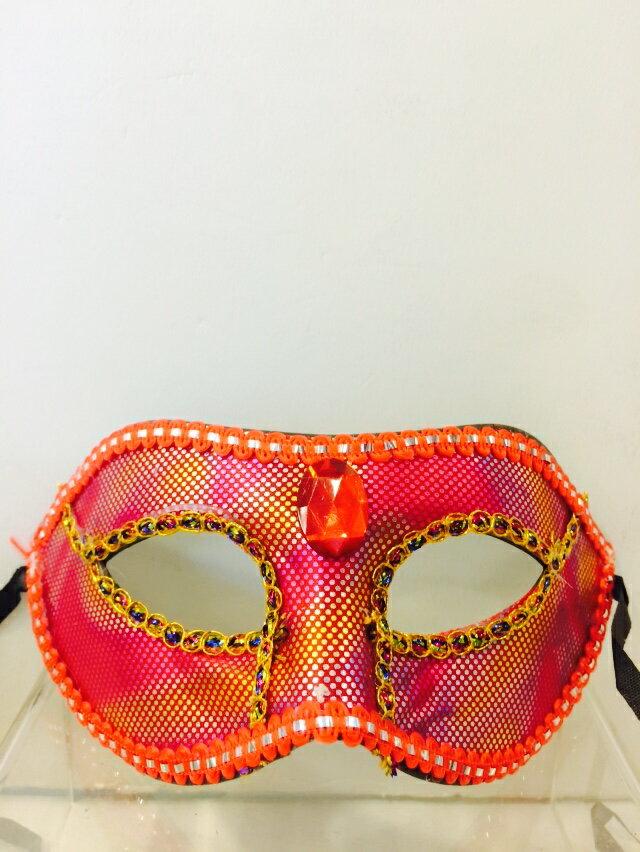 X射線【W060021】寶石亮片面具-紅,萬聖節服裝/派對用品/舞會道具/cosplay服裝/角色扮演