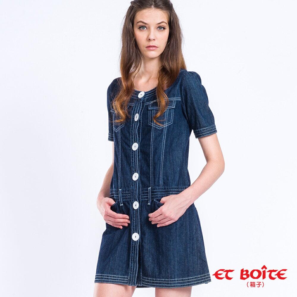 【雙11持續發燒↘均一價$990】短袖復古甜美丹寧洋裝 - BLUE WAY  ET BOiTE 箱子 0