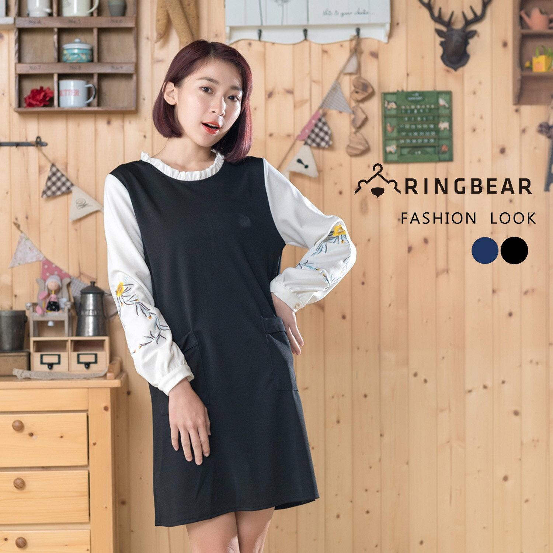 連身洋裝--優雅質感荷葉領口古典袖口刺繡雙口袋顯瘦A字裙(黑.藍M-2L)-A318眼圈熊中大尺碼 1