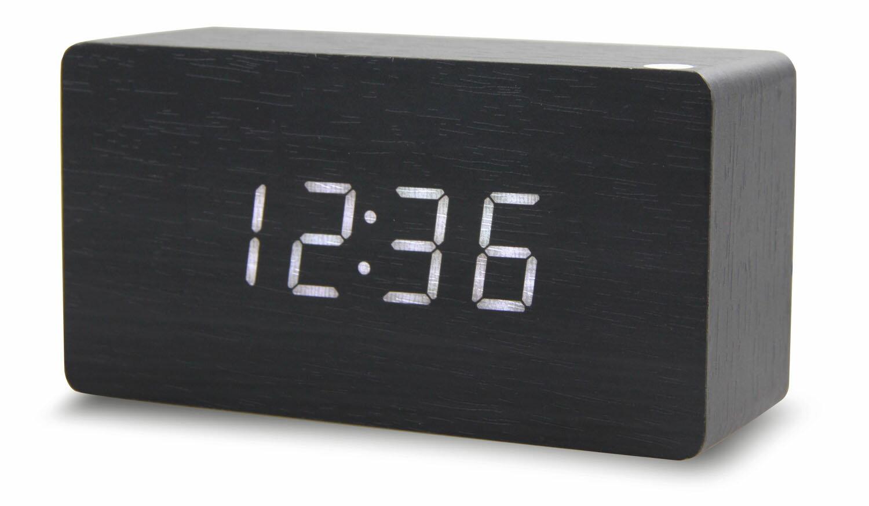 【現貨 】USB 聲控 木質時鐘 簡約時尚  電子鬧鐘 日期 溫度 濕度 萬年曆 迷你鬧鐘 LED 7