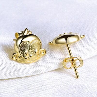 ~~純銀耳環~ 925純銀耳針式耳飾~可愛猴子 母親節生日情人節 女飾品3色73ac105