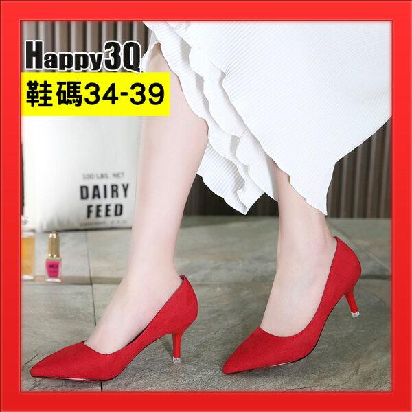 尖頭磨砂絨面女鞋子細跟高跟鞋子淺口女鞋子上班鞋-黑灰紅粉34-39【AAA3933】