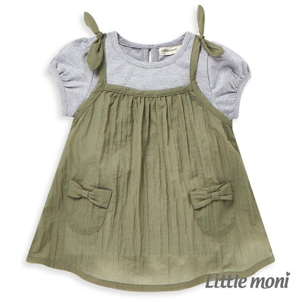 Littlemoni女孩兩件式上衣-橄欖綠