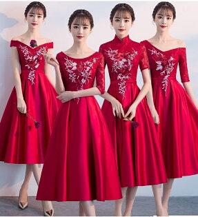 天使嫁衣【BL237D】酒紅色4款蕾絲剌繡花朵中長款禮服˙預購訂製款
