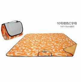 WallFree窩自在 防水耐磨戶外郊遊野餐墊/遊戲毯(小尺寸145*100CM)-橙字母C