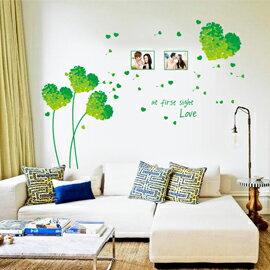 WallFree窩自在 DIY無痕創意牆貼/壁貼-綠色愛心草相框 AY7176C