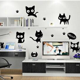 WallFree窩自在 DIY無痕創意牆貼/壁貼-HELLO小黑貓 AY6055