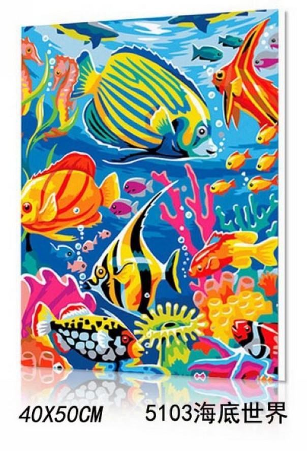 WallFree DIY手繪數字油畫 名畫系列(海底世界)