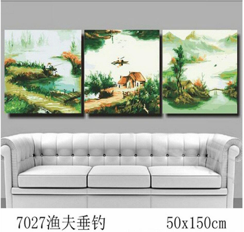 WallFree 炫金三拼高手系列 DIY數字油畫-漁夫垂釣 7027