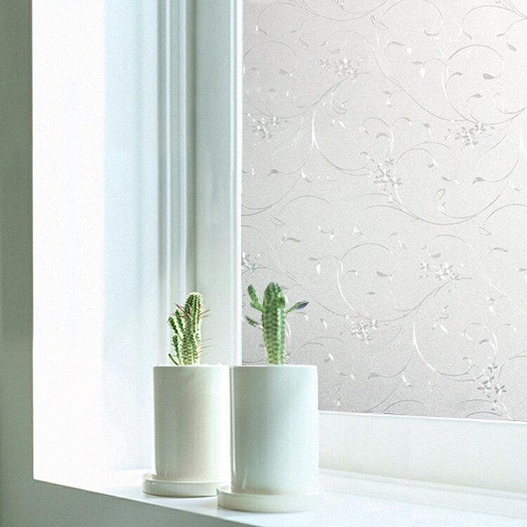 WallFree 居家無膠靜電玻璃貼膜 防曬貼紙-鐵線花