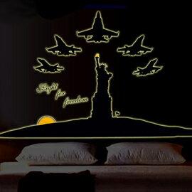 WallFree窩自在 DIY無痕珠光夜光壁貼 牆貼~紐約自由女神 ABQ9612