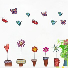 WallFree窩自在 DIY無痕創意牆貼/壁貼-AY947_塗鴉小植栽/炫彩盆栽