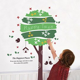 WallFree窩自在 DIY無痕壁貼 牆貼-快樂小樹AY717