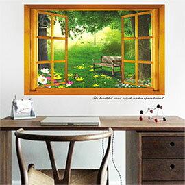 WallFree窩自在 DIY無痕壁貼 牆貼-假窗秘密森林 AY731