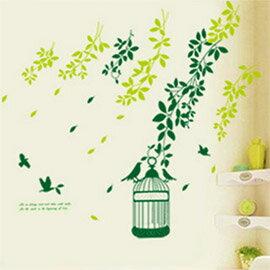 WallFree 窩自在 DIY無痕壁貼 牆貼-綠葉小鳥籠 AY740
