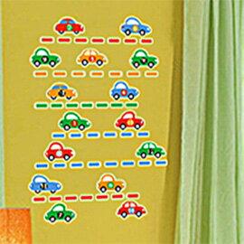 WallFree窩自在 DIY無痕壁貼 牆貼-彩色車車 Y0002