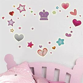 WallFree窩自在 DIY無痕壁貼 牆貼-心心星星B Y0006