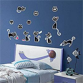 WallFree窩自在 DIY無痕壁貼 牆貼-黑色小貓咪  Y0029