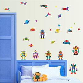 WallFree窩自在 DIY無痕壁貼 牆貼-機器人 AY7023
