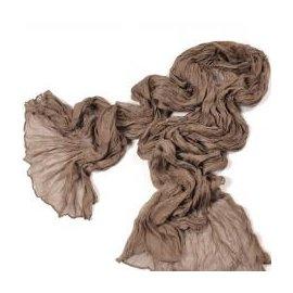 WallFree窩自在★韓國純色棉麻百搭褶皺圍巾 -咖啡色