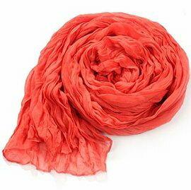 WallFree窩自在★韓國純色棉麻百搭褶皺圍巾 -紅色