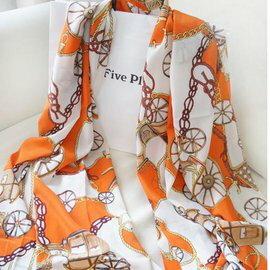 WallFree窩自在★粉嫩車輪雪紡百搭法國絨大圍巾絲巾-俏麗橙