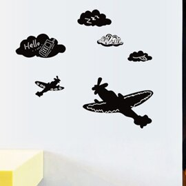 WallFree窩自在 DIY無痕壁貼 牆貼-飛機黑板貼 K-1002(不附粉筆)