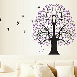 窩自在★DIY無痕創意牆貼/壁貼-DF5098_紫大樹