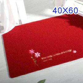 WallFree窩自在 韓系超唯美 繡花板 地墊/門墊/地毯-小花 (40X60) (紅色)