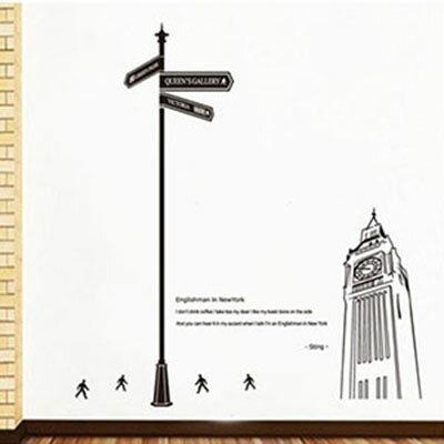WallFree窩自在 DIY無痕壁貼 牆貼-倫敦指南 JM7198