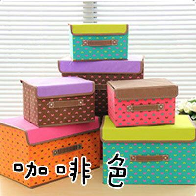 WallFree 咖啡色雙色愛心摺疊收納箱(大+小)組合