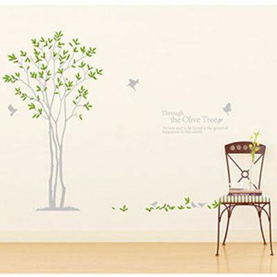 WallFree窩自在 DIY無痕壁貼 牆貼(雙拼款)-相思橄欖樹 JM7216AB